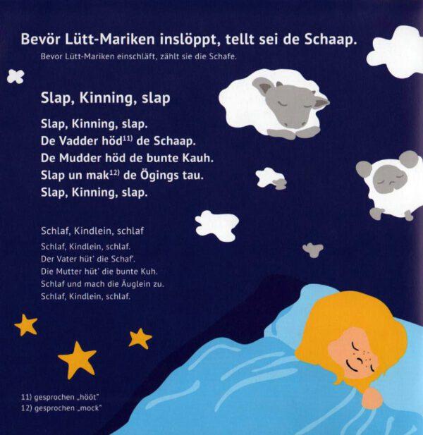 Lütt-Mariken plattdeutsches Bilderbuch/Kinderbuch Schlafgedicht