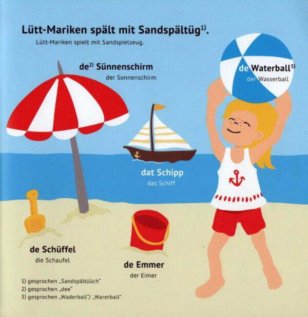 Lütt-Mariken plattdeutsches Bilderbuch/Kinderbuch Am Strand
