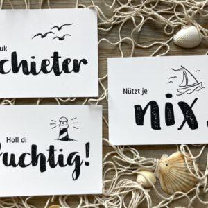 Plattdeutsche Postkarten - Klaukschieter - Holl di fuchtig - Nützt je nix