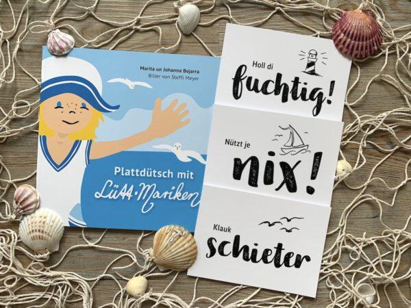 Plattdeutsche Postkarten und plattdeutsches Kinderbuch