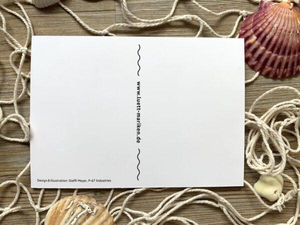 Lütt-Marikens plattdeutsche Postkarte Rückseite